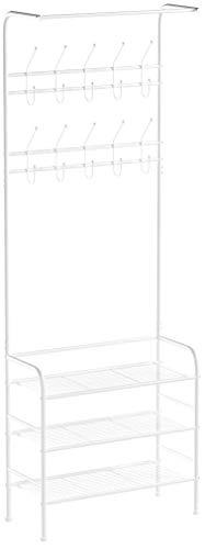 Homfa Garderobenständer Kleiderständer Kleiderstange 3 Ablagefächer Schuhablagen mit 20 Garderobenhaken, Höhe 190cm, Breite 68cm, Tiefe 34cm, weiß