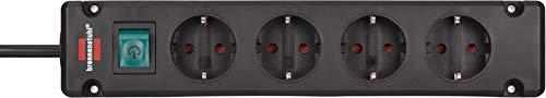 Brennenstuhl Bremounta Steckdosenleiste 4-fach (Steckerleiste mit Befestigungsmöglichkeit, 1,5 m Kabel und Kindersicherung) schwarz