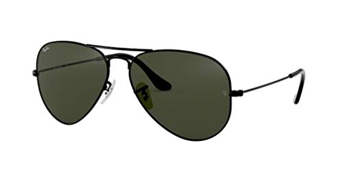 RAY-BAN RB 3025 AVIATOR SUNGLASSES (58 mm, L2823 BLACK/G-15 GREEN)