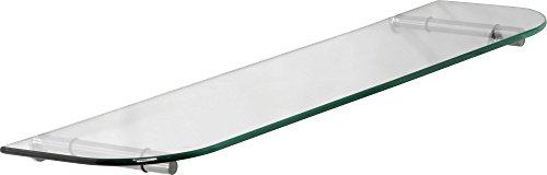 IB-Style - étagère murale en verre | 16 variations | 600 x 200 x 6 mm clair + Clips Stick acier inoxydable