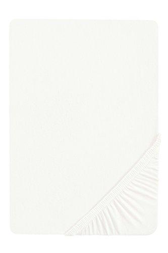 biberna 77144 Jersey-Stretch Spannbetttuch, nach Öko-Tex Standard 100, ca. 180 x 200 cm bis 200 x 200 cm, weiß - Weißes Spannbetttuch