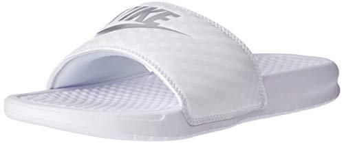 Nike Wmns Benassi JDI, Chanclas para Mujer, Blanco White/Metallic Silver 102, 39 EU