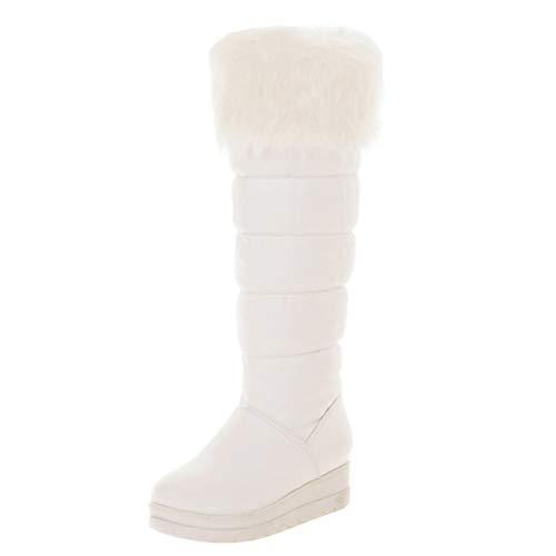 AIYOUMEI Winter Schneestiefel Damen Kniehohe Stiefel mit Keilabsatz und Fell Kniestiefel Plateau Langschaftstiefel Weiß 38 EU