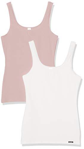 Skiny Damen Advantage Cotton Tank Top 2er Pack , Mehrfarbig (Smokerose Selection 1854), 38(M) EU