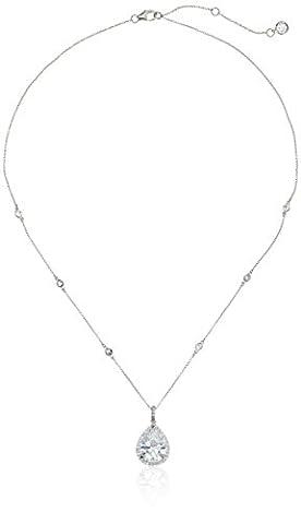 Crislu Cubic Zirconia Teardrop Silver Pendant Necklace