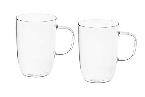 2 oder 4 Set Teegläser Gross hochwertiges Borsilikatglas Teetassen Glas-Tasse für Heiß und Kalt Getränke aus hitzebeständigem Borosilikatglas (2 Stück)
