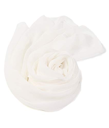 prettystern - 176cm Uni-farbe Leicht Seidenstola Crepe Georgette Schal - Weiß -