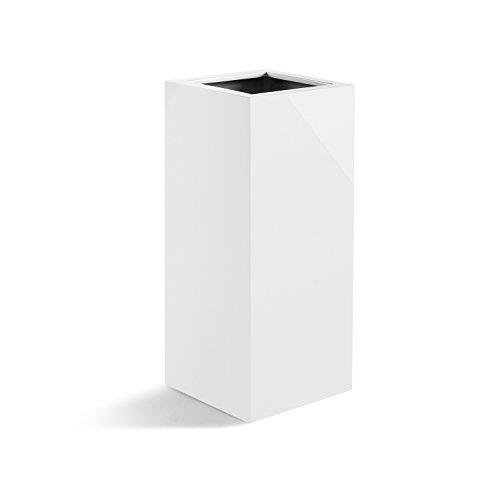 """Pflanzkübel """"Argento High Cube"""" Weiß Hochglanz Quadratisch Fiberglas *2 Jahre Garantie* - 30x30x60cm - F038"""