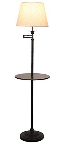 Stehleuchte Lampe Mit Regal, Standleuchten 360 ° Drehbarer Lampenkopf, Wohnzimmerlampe (E27 Lampenfassung, 40W Warmes Licht, Lampenschirm Aus Stoff, Hardware-Chassis) -