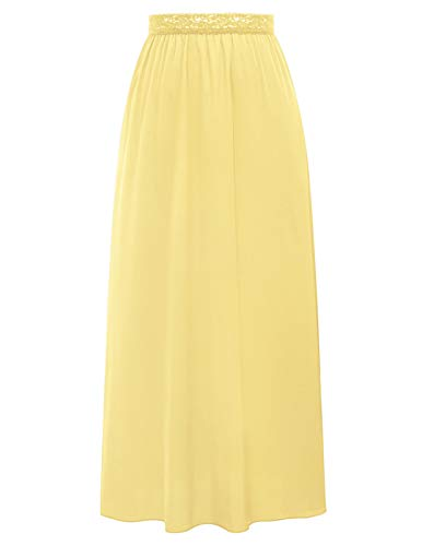 Damen Bequeme Vintage Kleid Unterwäsche Full Slip knöchellangen Gelb 1112 Medium -