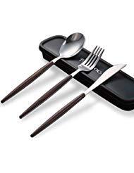 Elegantes Edelstahl & Holz Besteck-Set, Reisen Camping Besteck Set, gesunde und umweltfreundliche 3Teile Messer Löffel Set, tragbar Reise Besteck Geschirr-Set mit einem Organizer Box