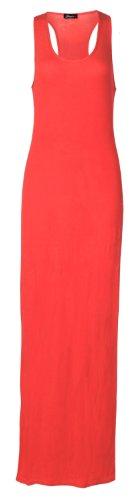 Fast Fashion Damen Ebene Armellose Muskel Racerback Übergröße Maxi Kleid Coral