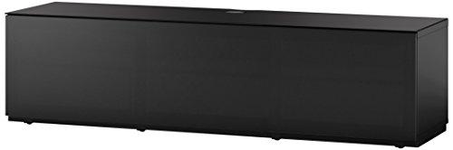 Sonorous STA 160T-BLK-BLK-BW hängende TV-Lowboard mit Sockel, schwarzer Korpus, obere Fläche, gehärtetem Schwarzglas und Klapptür mit schwarzem Akustikstoff
