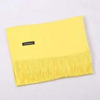 Pashmina de lana para inverno amarillo suave
