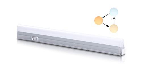 Led Unterbauleuchte Küchenlampe Unterbau Lichtleiste Farbwechsel Schrankbeleuchtung Superhell mit Ein/Ausschalter Schraube Verbindungskabel Warmweiß Neutralweiß Kaltweiß 500 Lumen 300 mm -