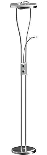 LeuchtenDirekt, LED Deckenfluter mit flexiblen Lesearm, dimmbar, Stehleuchte, IP 20, warmweiss, Stahl-Design