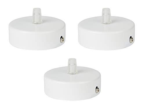 Deckenbaldachin aus Edelstahl (matt Weiß), 80x25 mm incl. Zugentlastung Klemmnippel (Standard m10 Gewinde) zur Lampenaufhängung an der Decke(Deckenrosette/Baldachin). Anzahl: 3 Stück