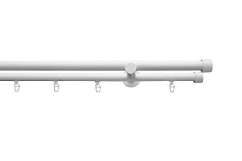 Gardinenstange Rundrohr und Innenlauf auf Maß Ø 19mm Kappe 2-lauf Komplettset mit Zubehör Weiß Glanz 350 cm