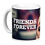 Easyhome Brand 11Oz Ceramic Coated (Friends Forever) 350 Ml White Color Coffee Mugs