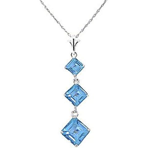 QP gioiellieri naturale topazio blu Collana con ciondolo in oro bianco da 9kt, 2,40ct, taglio