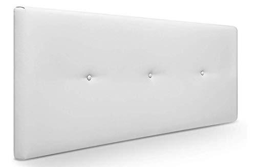 comprar Muebles Pejecar Cabeceros de Camas 150 cm. Nora, Cabecero Tapizado Color Blanco. (160 cm de Ancho x 50 cm de Alto)