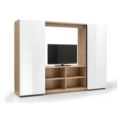 Meuble Mural TV avec 2 Portes coulissantes en chêne et Blanc laqué cm 220 x 46 x 160 cm Collection Jour Marina