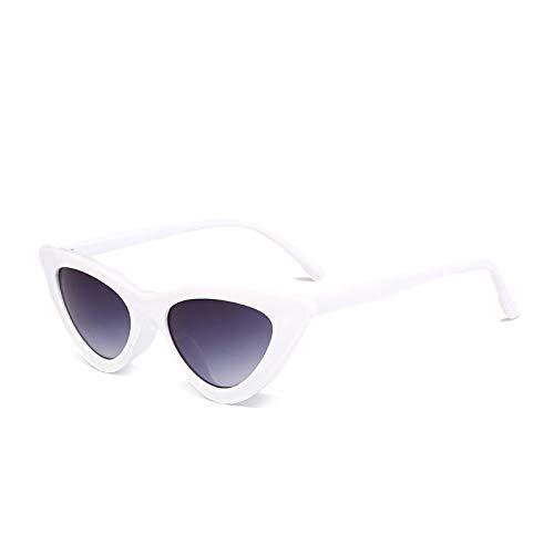 Yangjing-hl Triangle Cat Eye Brille Persönlichkeit Sonnenbrille weiblich Wildstreet-Sonnenbrille konkave Form, White Frame Double Gray, Einheitsgröße