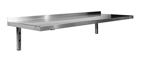 BUD-ETPL104 Wandregal, Edelstahl, feste Konsolen, 400 mm x 1000 mm x 250 mm