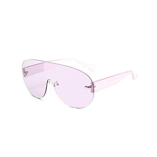 WULE-RYP Polarisierte Sonnenbrille mit UV-Schutz Randlose Einteilige runde Sonnenbrille, Big Frame Sunglasses. Superleichtes Rahmen-Fischen, das Golf fährt (Farbe : Lila)