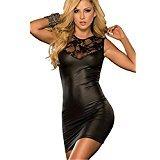 Sexy Dessous, Fortan Damen mit V-Ausschnitt Transparent Häkelspitze-Leder-Wäsche (EU=34, Schwarz) (Der Frauen Teufel Sind)