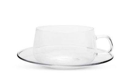 VAHDAM, Set mit 2xTeetasse/Latte Macchiato Glas& Untertassen aus Borosilikatglas,Glas Set, 250 ml - WIDERSTANDSFÄHIG –Teetasse Glas Set(4 Stück) - Mikrowellen, Kühlschrank & Spülmaschinen Geeignet