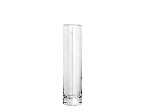 H & H 30902 Vase en verre cylindrique, 5 x 20 cm, transparent