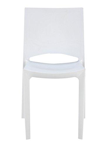 Grandsoleil Upon Woody Chaise empilable, Polypropylène, Blanc, 49 x 48 x 80.5 cm