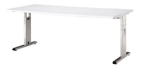 Bümö® Schreibtisch für das Büro | Bürotisch in 6 Dekoren & 7 Größen verfügbar | Büroschreibtisch (Weiß, 80_x_180_cm) - 2