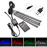 Safego 4 in 1 LED Light Strip Decorative Car Interior 48 5050-RGB LEDs 8 Colors Car Auto with Wireless Remote Control, Waterproof, USB Plug
