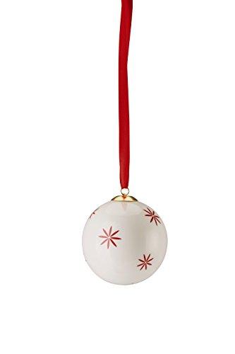 Hutschenreuther 02478–725934–27938 Merry Christmas Nordic Red Grande Boule en Porcelaine étoiles, diamètre 8 cm, Porcelaine, Rouge, 9 x 9 x 10 cm