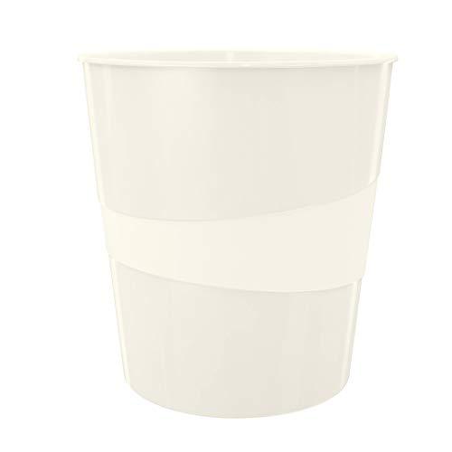 Leitz WOW Papierkorb, 15 Liter, Kunststoff, Perlweiß, 52781001