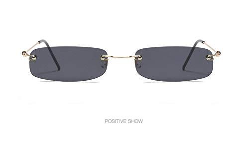 WSKPE Sonnenbrille,Mode Rahmenlose Sonnenbrille Frauen Ultra Light Rechteckig Schmal Klein Sonnenbrille Männer Uv400 Gold Frame Licht Streuscheibe,Schwarz