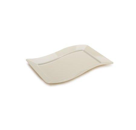 Lot de 10 - Élégant Plastique rigide ondulée rectangulaire à dessert Assiettes de service - 14 x 19,1 cm (14 x 19 cm) - en forme d'os/ivoire