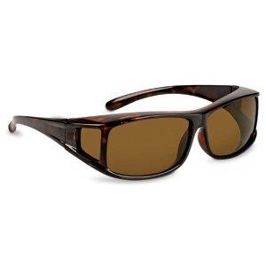 Überziehbrille mit polarisierenden Sonnenschutzgläsern - optimal für Brillenträger - Form: eckig (havanna - braun)