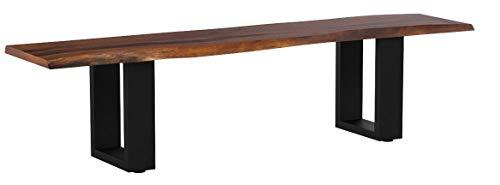 SAM® Sitzbank 180x40 cm Ida, Akazien-Holz, Massive Holzbank, Baumkantenbank mit schwarz lackierten Metallbeinen