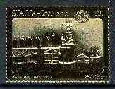 Staffa 1976 United Nations - UPU £6 value perf label (showing Woman and Mail boxes) embossed in 23 carat gold foil (Rosen #392) u/m POSTAL POSTBOX JandRStamps -