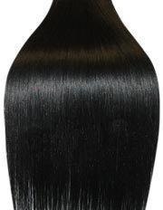 Clip-In-Extensions für komplette Haarverlängerung - hochwertiges Remy-Echthaar - 120 g - 60 cm - Tiefschwarz - 1
