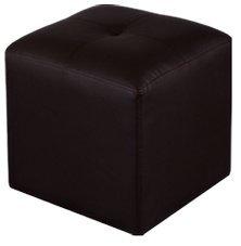 Puff cuadrado tapizado en símil piel medidas 35 x 35 cm color chocola