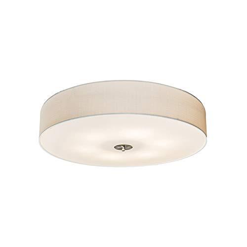 QAZQA Landhaus/Vintage/Rustikal/Modern Deckenleuchte/Deckenlampe/Lampe/Leuchte Drum mit Schirm 70 Jute weiß/Innenbeleuchtung/Wohnzimmerlampe/Schlafzimmer/Küche Glas/Textil/Stahl R