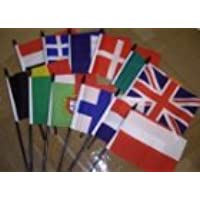 """Gold Bases 6 Participating Rugby Nations Polyester Desk Flag Sets 6/"""" X 4/"""""""