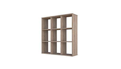 101140135, Polini Home Raumteiler Bücherregal Regal eiche 9 Fach