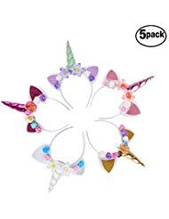 Diadema unicornio orejas flor color arcoíris, 5 unidades