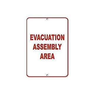 Kysd43Mill Sicherheits-Schild, aus Aluminium, mit Aufschrift Evakuation Assembly Area, 20,3 x 30,5 cm