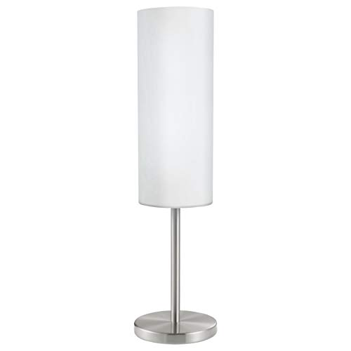 EGLO Tischlampe Troy 3, 1 flammige Tischleuchte, Nachttischlampe aus Stahl, Farbe: Nickel matt, Glas: satiniert weiß, Fassung: E27, inkl. Schalter -